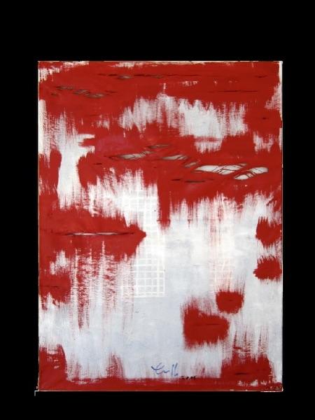 Acryl auf Leinwand mit übermaltem Siebdruckuntergrund der 4. D.